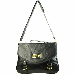 Details about NEW REAL LEATHER Ladies Shoulder Bags Women Across Body  Handbag Black Office UK 0b58113bad