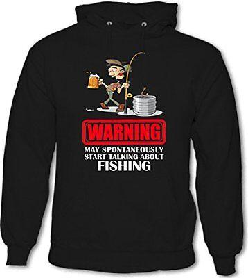 Warning May Spontaneously Start Talking Fishing Mens Funny Hoodie Fish Fisherman