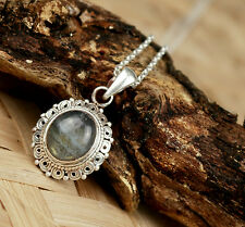 Stone Silver Locket & chain Hand Crafted in Nepal Pendent Necklace 925 Silver