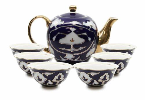 Royalty Porcelain 7-pc Mini Tea Cup Set for 6 Vintage Cobalt Blue Russian