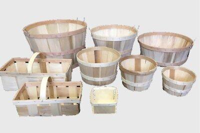 "6 Wood Slat Apple 1/2 Bushel Baskets 9-1/2"" X 14"" New Fashion New"