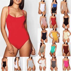 Womens-Ladies-Strap-Strappy-Sleeveless-Camisole-Cami-Vest-Bodysuit-Leotard-Top