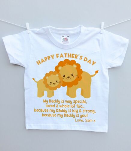 Personalised baby//childs T-shirt top 1st fathers day daddy lion present gift