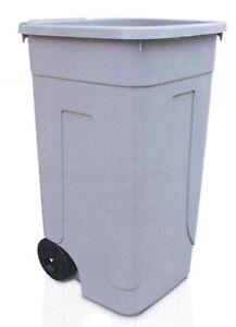 pattumiera grigia bidone per spazzatura secchio con ruote 100 Lt portarifiuti se