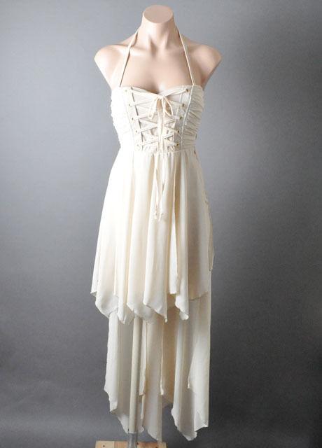 Lace Up Corset Bustier Renaissance Fairy Tale Handkerchief Ballet Gown Dress SML