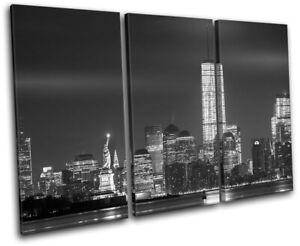 New-York-Statue-of-Liberty-Night-City-TREBLE-CANVAS-WALL-ART-Picture-Print