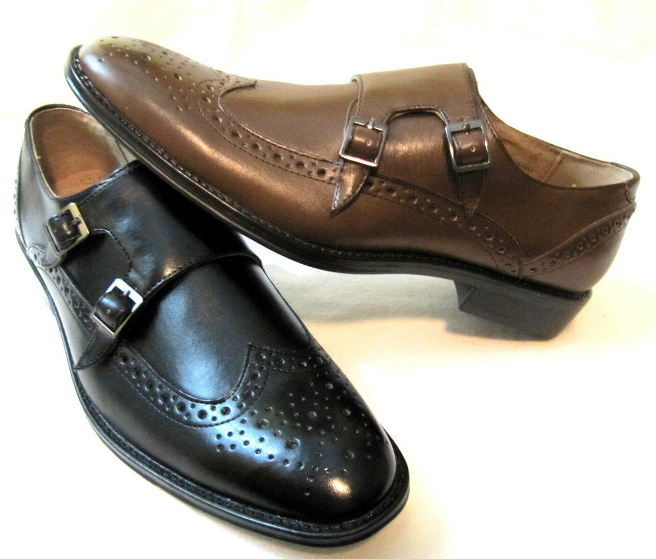ADOLFO Men's Double Buckle Monk Strap Wingtip Loafer Dress Casual shoes