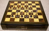 Chess Set With Wood Board & Ebony Storage Box Solid Metal Pieces 2 5/8 Kings
