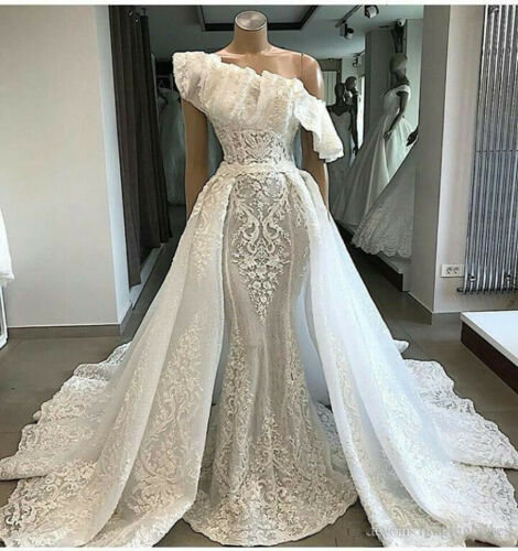 Detachable Train Lace Appliques Wedding Dress White//Ivory Mermaid Bridal Gown