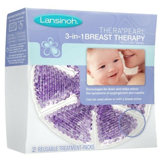 2 Count Lansinoh Thera Peral 3 in 1 Breast Therapy Reusable Treatment Packs