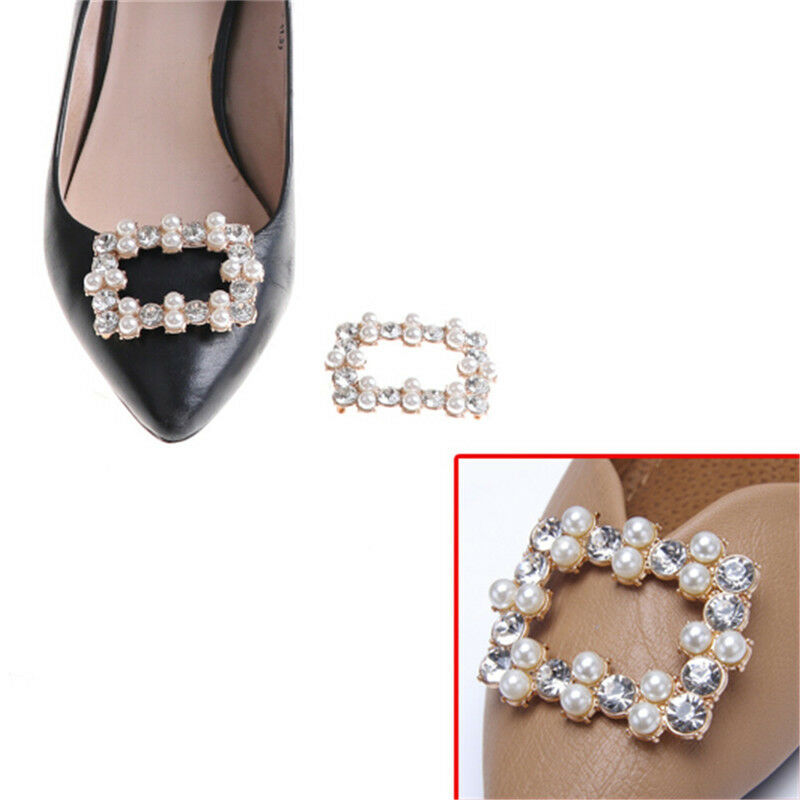 1PC Shoe Clips Rhinestones Metal Faux Pearl Bridal Prom Shoes Buckle DecorYJf