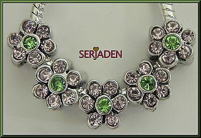 5 Flowers w/ Pink Petals & Green Stone Charms 9x10 mm Fits European Styles R079