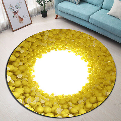 Rotate Fruit Lemon Round Floor Mat Bedroom Carpet Non-slip Living Room Area Rugs