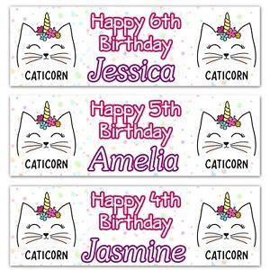 2-Striscione-di-Compleanno-Personalizzata-GATTO-Unicorno-caticorn-Bambine-PARTE-POSTER