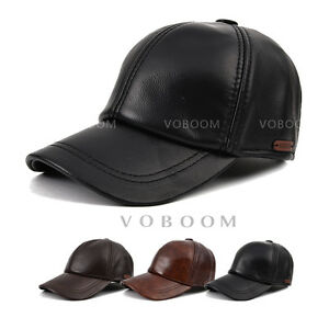 4b86ca0fccb Men s Full Grain 100% Genuine Leather Hat Winter Warm Cowhide ...