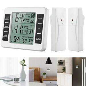 Funk Wetterstation Digital Kühl & Gefrierschrank Thermometer Mit 2 Funk-Sensoren