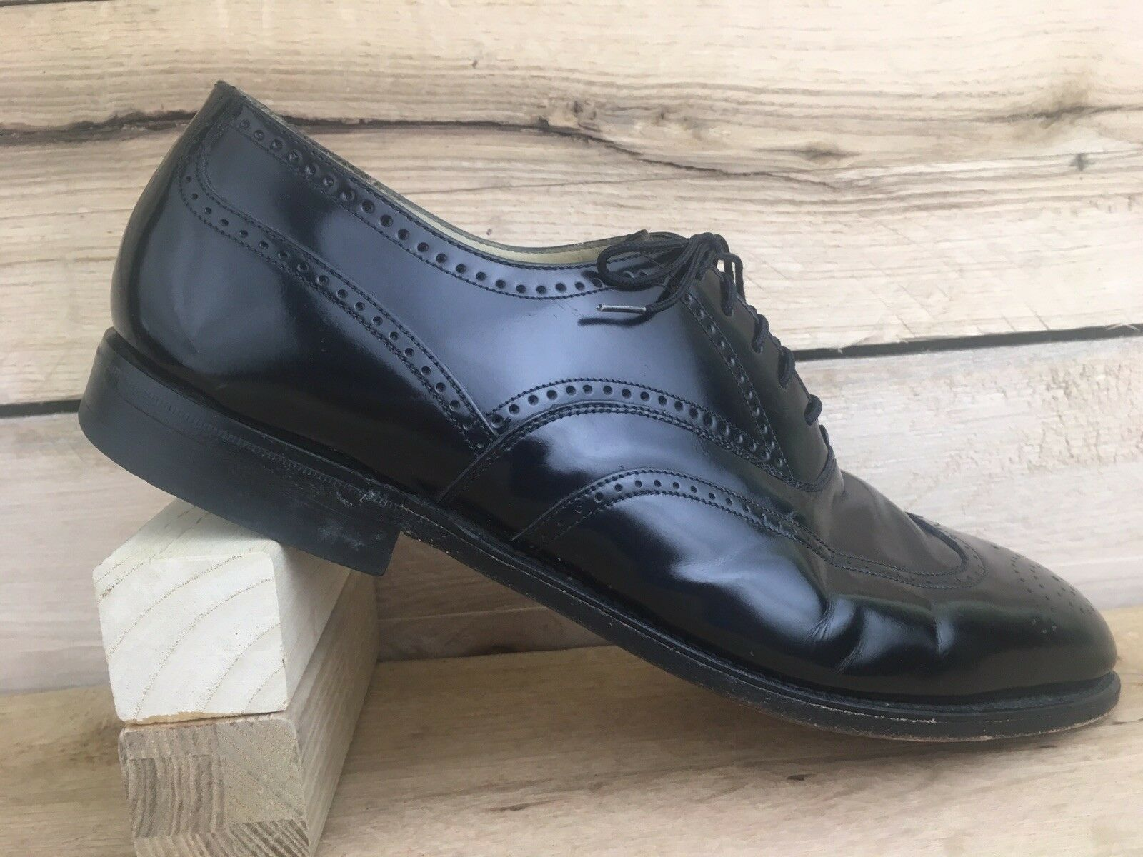 J Murphy by Johnston Murphy Men shoes 10M Oxfords Wing Brogue Black Lace 20-41030