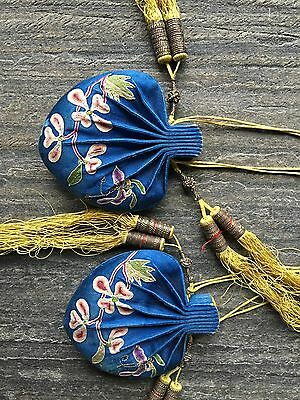 Antique Forbidden Stitches Embroidery  Fragrant Pouch, 19th cent Chinese
