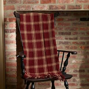 Primitive blanket throw burgundy check 50 x60 the for The country home collection