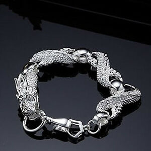 Cool-925Sterling-Silver-White-China-Dragon-Strong-Men-Chains-Bracelets-H036