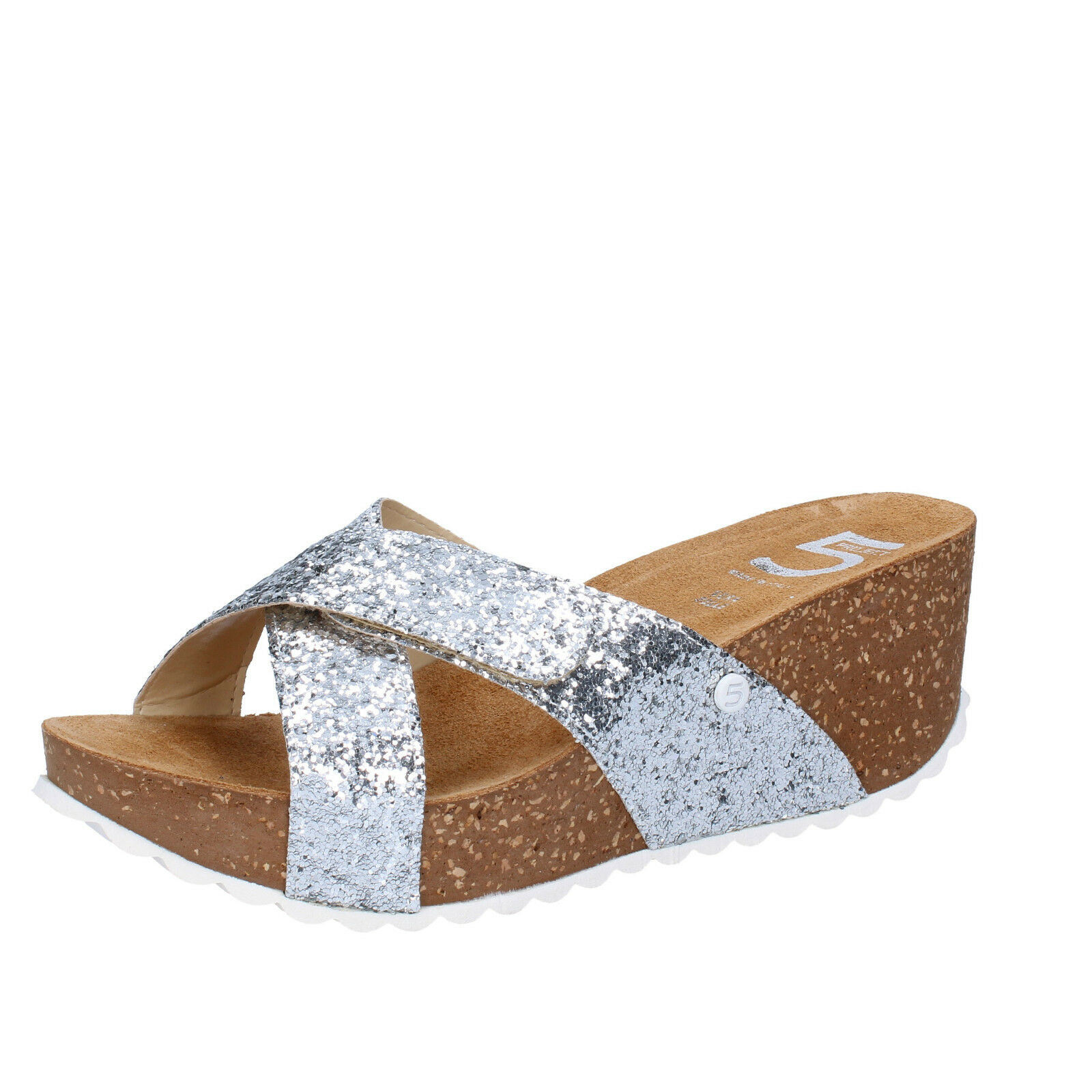 Damen schuhe 5 PRO JECT 38 EU sandalen silber glitter AC702-D