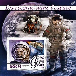 Yuri Gagarin Cosmonaute/premier Homme Dans L'espace Records Timbre Feuille (2016-guinée)-afficher Le Titre D'origine