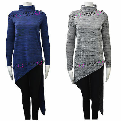 Womens Asymmetric Lightweight Jumper Oversized Top Blouse Shirt Size 8-16 FT2191