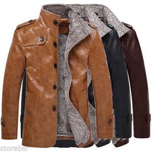 Mens Winter Stylish Warm Jacket Leather Coat Fur Parka Fleece Jacket