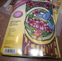 Design Works Hummingbird Welcome Wall Hanging Plastic Canvas Kit 10 X 20