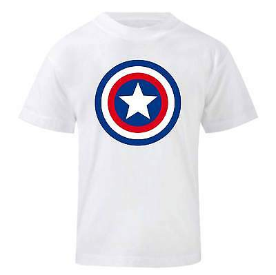 Bambino Child Boy Bianca Attractive Appearance Maglietta Capitan America Devoted Art T-shirt