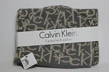 New Calvin Klein signature 2 piece hat and scarf set gray and mushroom