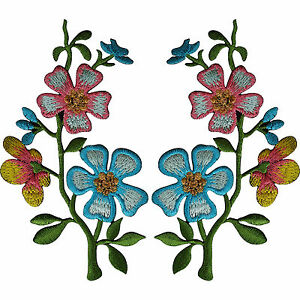 Pair-of-Pink-Blue-Flower-Patches-Iron-On-Sew-On-Embroidery-Patch-Badge-Appliques