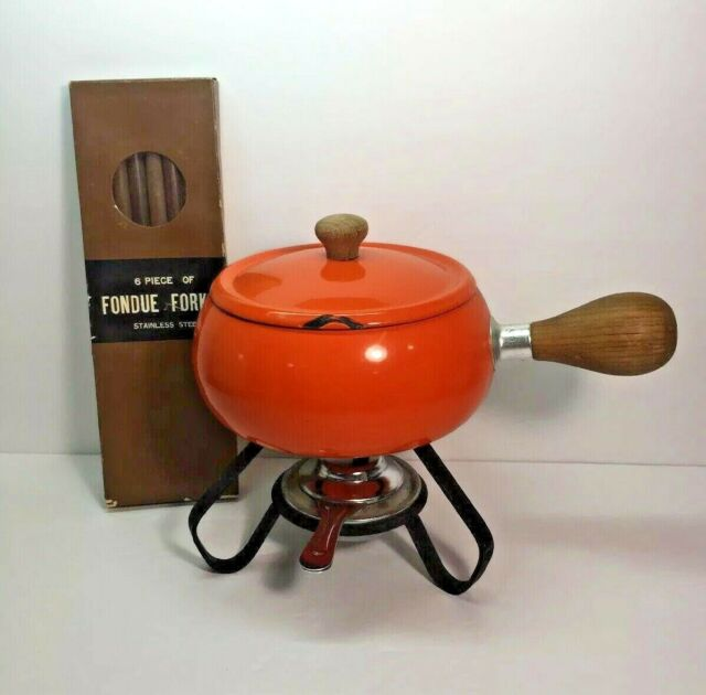 Mcm Enamel Fondue Pot Flame Red Orange Wooden Handle Lidded Stand Burner Forks Ebay