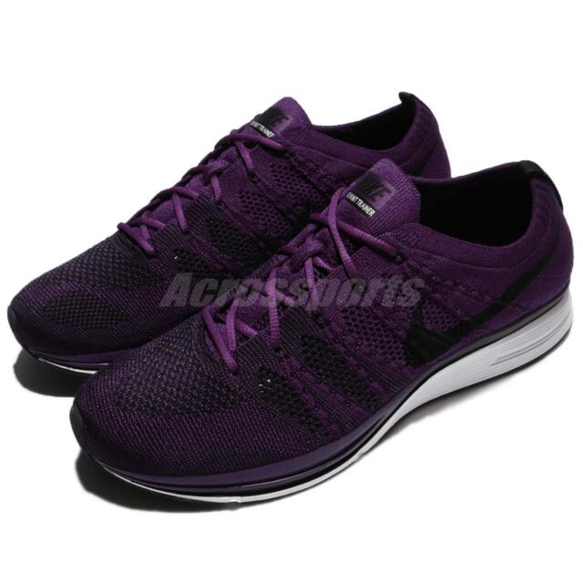 6eb9e96a12a994 Nike Flyknit Trainer Night Purple Black Men Running Shoes Sneakers AH8396 -500