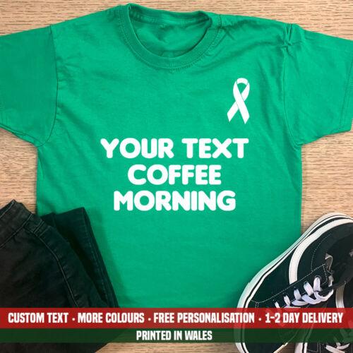 Kids Custom Coffee Morning Cancer Awareness T-shirt Worlds Donation Macmillan