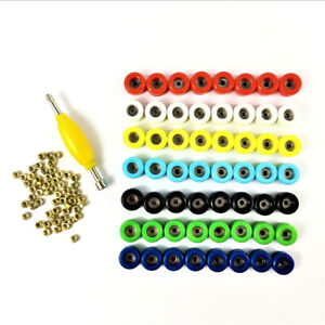 Lot-56PCS-Bearing-Wheels-amp-Spanner-Nuts-Accessary-For-Skateboard-Fingerboard-toy