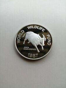 1987 200-Piso World Wildlife Fund Tamaraw Silver Commemorative Coin Proof
