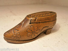 Treen Shoe Snuff Box      ref 235