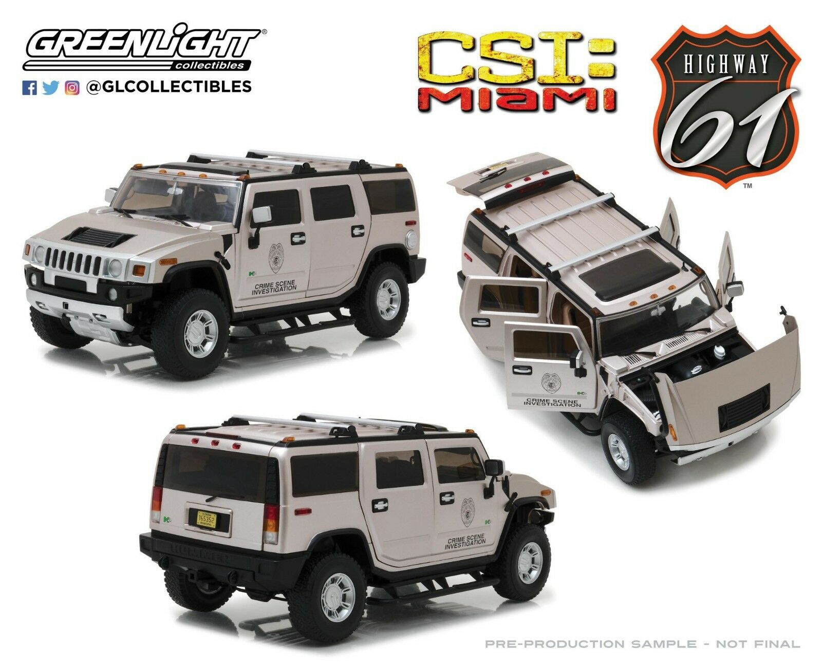Highway 61 1 18 CSI  Miami (2002-12 TV Series) - 2003 Hummer H2 HWY-18006