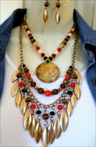 South-West-Gold-Tribal-Genuine-Stone-Pendant-Red-Brn-Black-Beads-Necklace-Set
