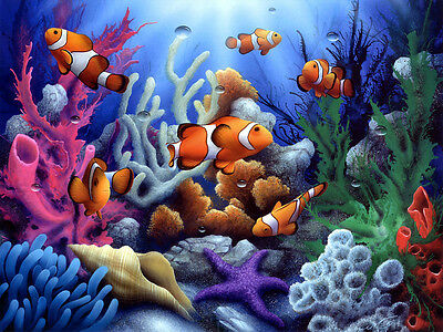 Underwater World Clown Fish Oil painting wall art Printed on