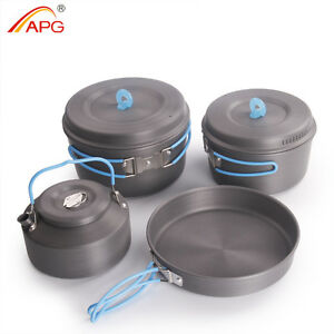 bb7c22637eb Image is loading Outdoor-Camping-Tableware-Portable-Cooking-Set-Pot-Pan-
