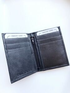 New-Mens-Bifold-Leather-ID-Wallet-Holder-Black-Credit-Card-Slim-Thin-Zip-3x4-522