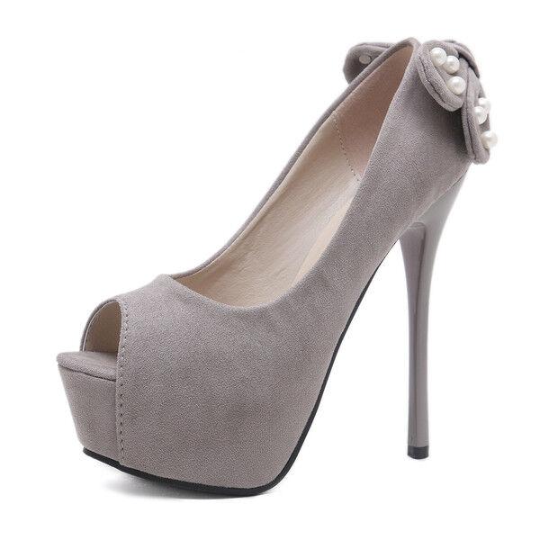 Sandali stiletto decolte 14 cm grigio spuntati 1012 plateau simil pelle eleganti 1012 spuntati 98f34d