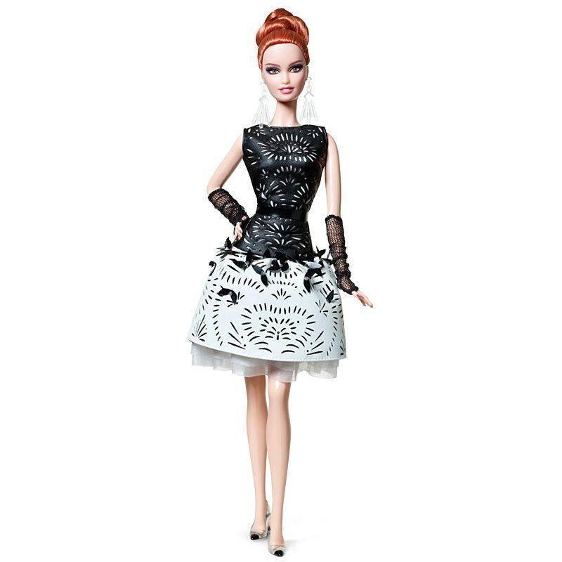 Club de fans BCR07 platino etiqueta Láser blancoo y Negro-Cuero Sintético Barbie Nuevo nunca quitado de la caja