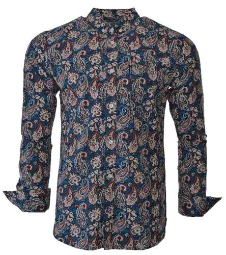 Lambretta Paisley Shirts Mens MOD Retro Long Sleeve Cotton Button Down UK S-3XL