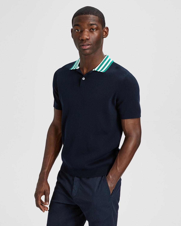 Theory NWT Men Canelos Cotton Striped Collar Polo siz L Dark bluee White Green 92