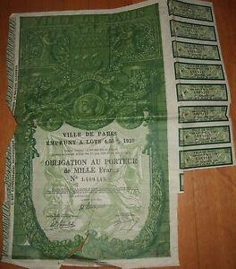 Ville de Paris - Emprunt à Lots 4,50% 1929 - France - Ville de ParisEmprunt Lots 4,50% 1929Décrets en Conseil d'Etat des 1er juin 1928 et 26 février 1929Obligation au porteur de MILLE francsDaté le 16 mai 1929 - France