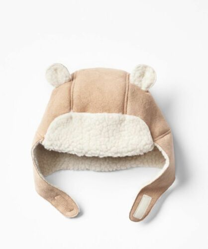 Girls Size 0-6 Months NWT Sherpa Ivory Trapper Bear Hat w//Ears GAP Baby Boys