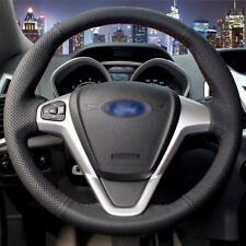 Black Leather Hand-stitched DIY Car Steering Wheel Cover for Ford Fiesta 2008-13